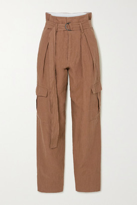 Bassike Space For Giants Belted Linen Pants - Brown