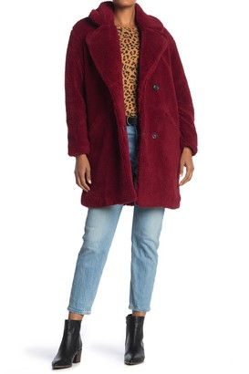 Lucky Brand Double Breasted Faux Teddy Fur Coat