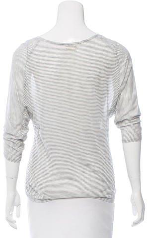 L'Agence Stripe Patterned Short Sleeve Top