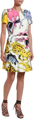 Stella McCartney Watercolor Horse-Print Jersey Dress