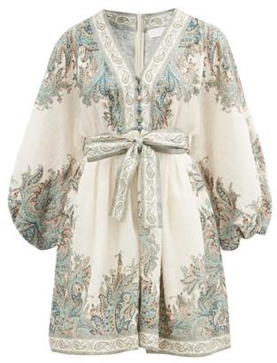 Zimmermann Brighton Paisley-print Linen Mini Dress - White Print