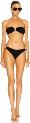 Hunza G Elektra Bikini in Black & Lilac   FWRD