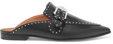 Givenchy Studded Leather Slippers - Black