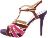 Diane von Furstenberg Suede Colorblock Sandals