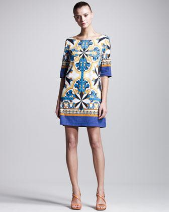 Philosophy di Alberta Ferretti Printed Poplin Tunic Dress
