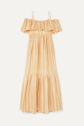Three Graces London Ida Off-the-shoulder Tiered Metallic Striped Linen-blend Dress - Beige