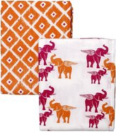 Masala Swaddle Wraps - 2pk set- Jali Ikat Yellow