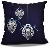 16 in. Filagree Ornaments Holiday Pillow in Navy Blue