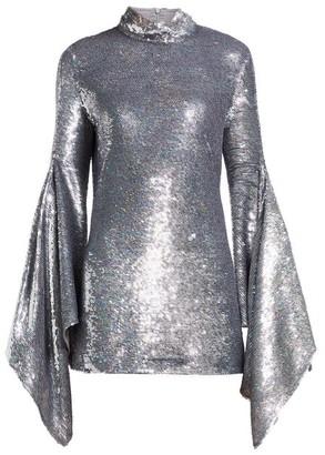 Ashish Gaia Drape-sleeve Sequinned Mini Dress - Silver