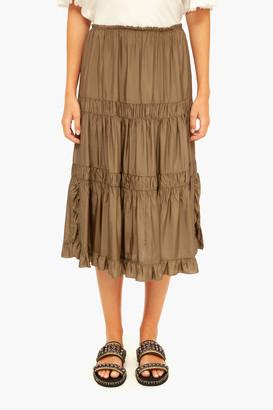 See by Chloe Lightless Khaki Tiered Skirt