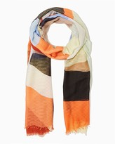 Charming charlie Color block frayed scarf