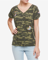 Sanctuary Cotton Embroidered Camouflage-Print T-Shirt