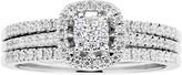 Lovemark 10k White Gold 1/2 Carat T.W. Diamond Cluster Engagement Ring Set