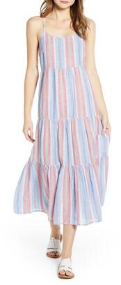 BeachLunchLounge Lana Stripe Linen & Cotton Tiered Midi Sundress