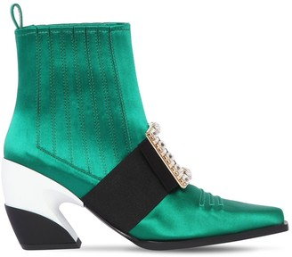 Roger Vivier 65mm Viv Tex Silk Satin Cowboy Boots