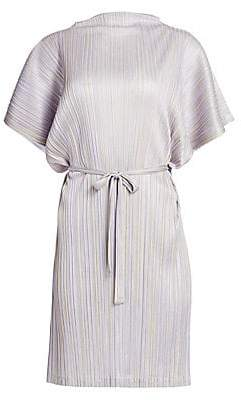 Pleats Please Issey Miyake Women's Shiny Stripes Short Sleeve Dress