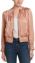 Love Sam Smocked Silk-Embroidered Bomber Jacket