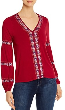Design History Embroidered Jersey Knit Top