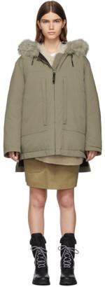 Yves Salomon Army Beige Down and Fur Doudoune Jacket