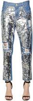 Sequin Cotton Denim Boyfriend Jeans
