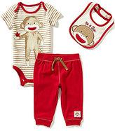 Baby Starters Baby Boys 3-12 Months Striped Sock Monkey Bodysuit, Solid Pants, & Sock Monkey Bib Set