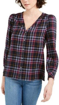 1 STATE Cotton Flannel Plaid V-Neck Top