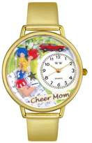 Whimsical Watches Cheer Mom Gold Leather and Goldtone Unisex Quartz Watch with White Dial Analogue Display and Multicolour Leather Strap G-1010007