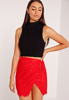 Missguided Wrap Lace Mini Skirt Red