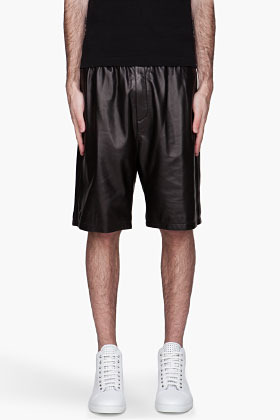 Neil Barrett Black buffed Leather basketball Shorts
