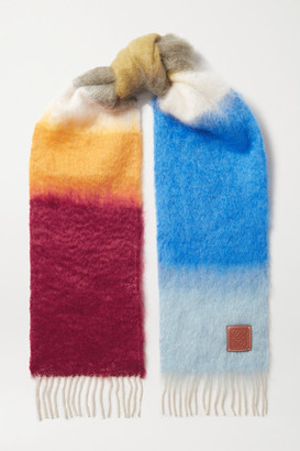 Loewe Leather-trimmed Fringed Striped Mohair-blend Scarf - Blue