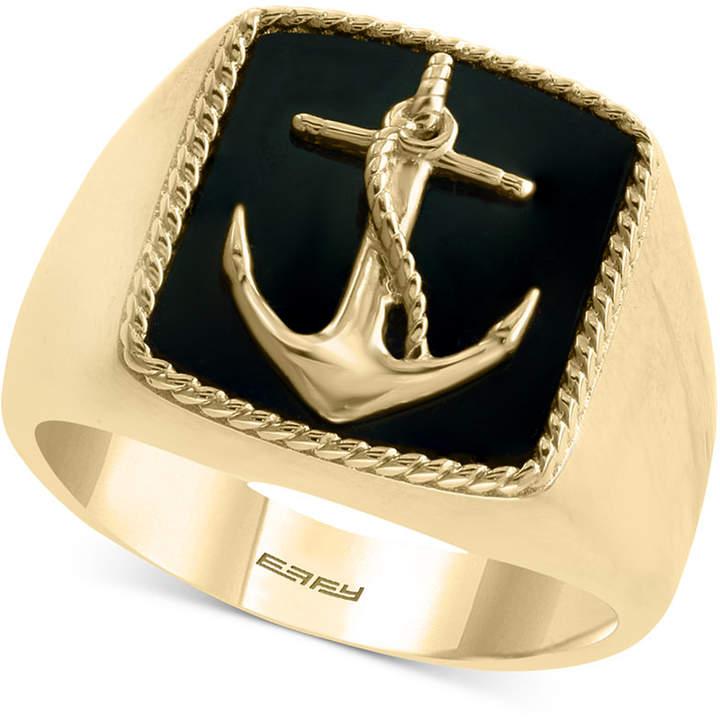 054dd5c5414c8 Men Onyx (15 x 13mm) Anchor Ring in 14k Gold