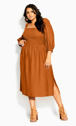 City Chic Fearless Dress - caramel