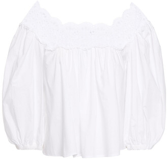 Sandro Alisya Cropped Broderie Anglaise-trimmed Cotton-poplin Blouse