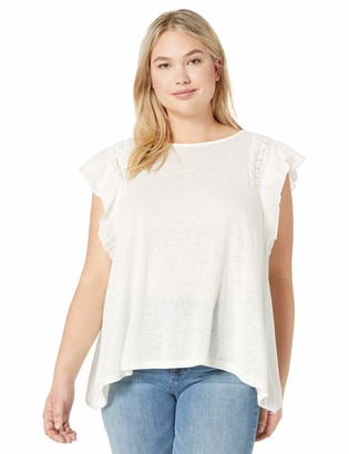 Jessica Simpson Women's Moya Short Sleeve Blouse with Lace Detail
