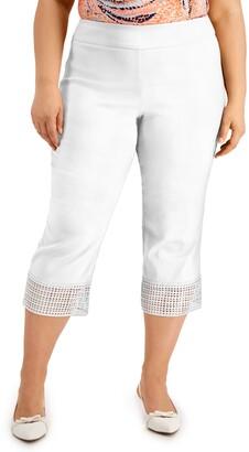 JM Collection Plus Size Crochet-Hem Capri Pants, Created for Macy's