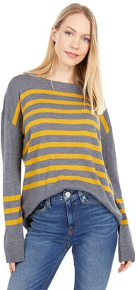 Pendleton Striped Merino Crew Neck (Grey/Inca Gold) Women's Sweater