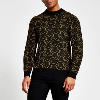 ONLY & SONS black printed knitted jumper