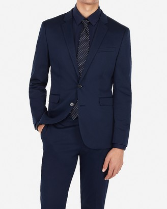 Express Extra Slim Navy Performance Stretch Cotton Blend Suit Jacket