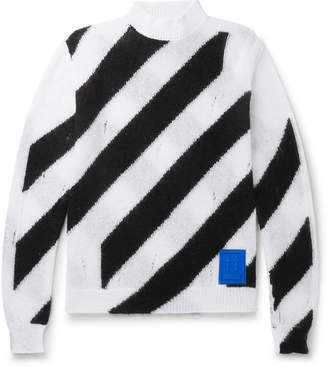 Off-White Off White Logo-Appliqued Distressed Striped Mohair-Blend Sweater
