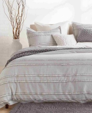DKNY Pure Fringe Stripe King 3 Piece Duvet Set Bedding
