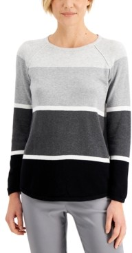 Karen Scott Plus Size Thea Colorblocked Cotton Sweater, Created for Macy's