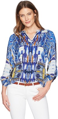 Tribal Women's Long Sleeve Blouse with Beaded Collar
