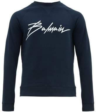Balmain Logo Print Cotton Sweatshirt - Mens - Navy