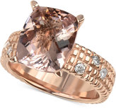 Macy's Morganite (5-1/2 ct. t.w.) and Diamond (1/6 ct. t.w.) Openwork Ring in 14k Rose Gold