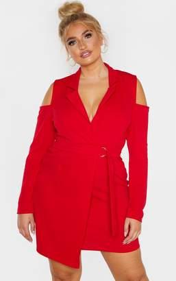 PrettyLittleThing Plus Red Cold Shoulder Ring Detail Blazer Dress