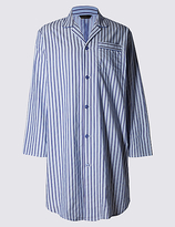 M&s Collection Pure Cotton Striped Nightshirt