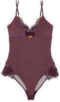 Elle Macpherson Body - Lash Lace-trimmed Printed Stretch-jersey Bodysuit - Merlot
