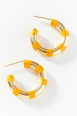 Striped Hoop Earrings By A. Carnevale in White