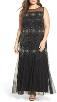 Pisarro Nights Plus Size Women's Diamond Motif Embellished Long Dress