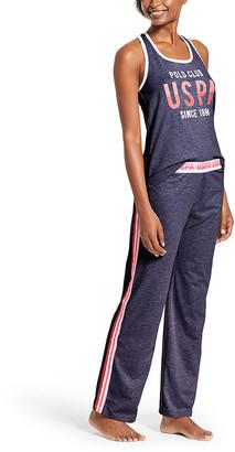 U.S. Polo Assn. Women's Sleep Bottoms NVYHE - Heather Navy Logo Stripe Pajama Set - Women